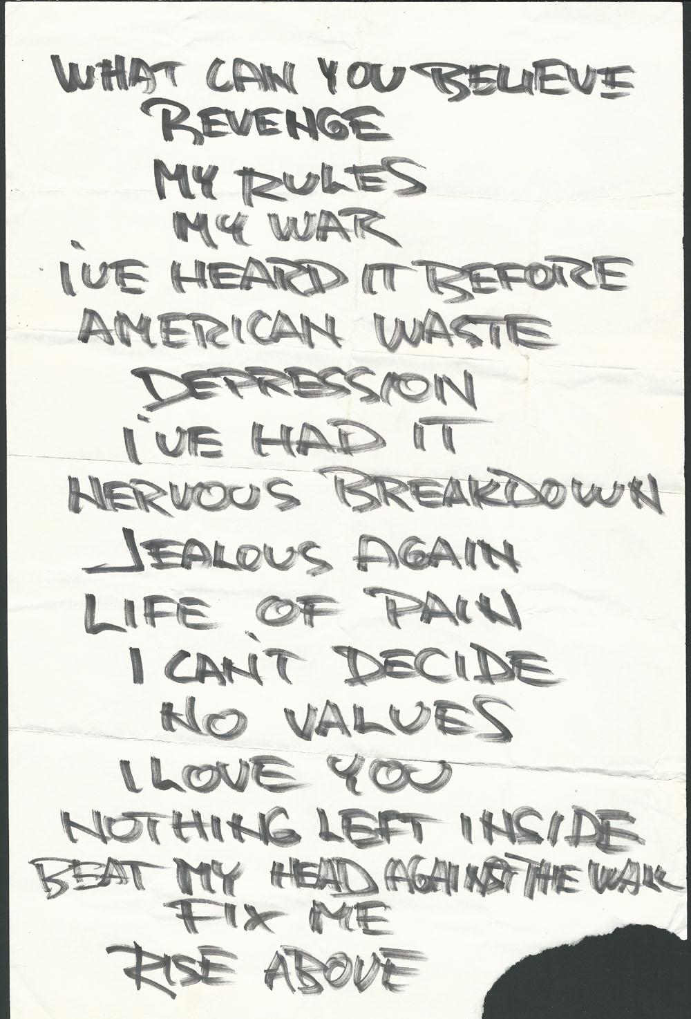 BLACK FLAG set list #1