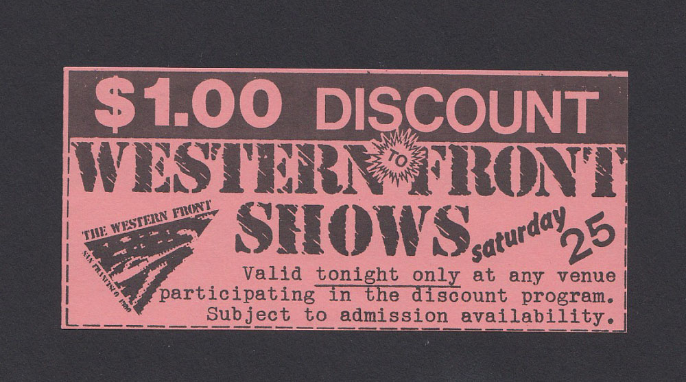 WESTERN FRONT FESTIVAL ticket 1980