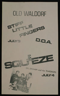 SQUEEZE w/ Syl Sylvain + STIFF LITTLE FINGERS w/ DOA at Old Waldorf