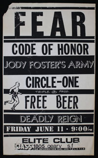 FEAR w/ Code of Honor, JFA, Circle One and Deadly Reign at Elite Club