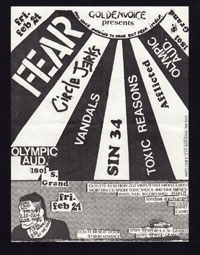 FEAR w/ Circle Jerks, Vandals, Sin 34, Toxic Reasons, Afflicted at Olympic Auditorium