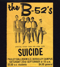 B-52's w/ Suicide + Talking Heads w/ Mutants in Berkeley