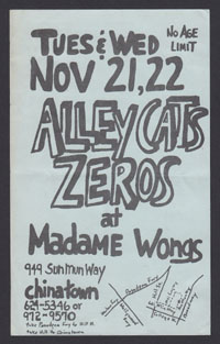 ALLEY CATS w/ Zeros at Madame Wongs