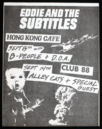 EDDIE & THE SUBTITLES w/ B-People, DOA, Alley Cats at Club 88