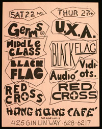 GERMS w/ Middle Class, Black Flag, Red Cross at Hong Kong Cafe