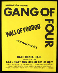 GANG OF FOUR w/ Wall of Voodoo, Romeo Void at California Hall