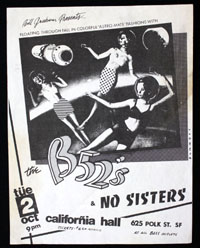 B-52's w/ No Sisters at California Hall