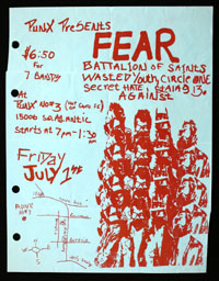 FEAR w/ Battalion of Saints, Wasted Youth, Circle One, Secret Hate, Stalag 13, Against at P.U.N.X. #3