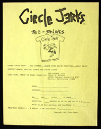 CIRCLE JERKS t-shirt order form