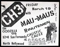 CHANNEL 3 w/ Mau-Maus, Minutemen, Caustic Cause at Godzilla's