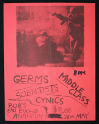 GERMS w/ Middle Class, Scientists, Cynics at Bob's