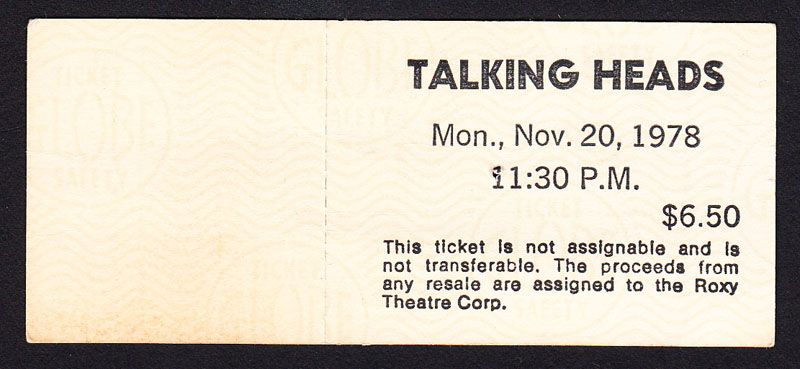 TALKING HEADS at the Roxy 11.20.78