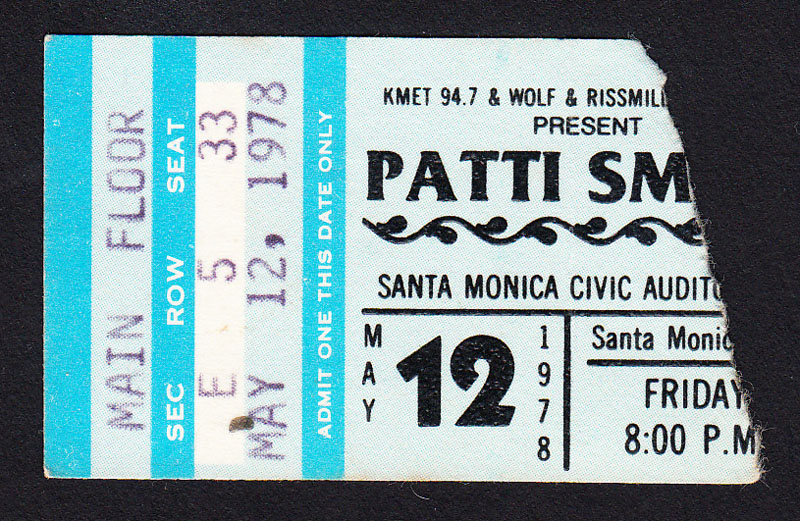 PATTI SMITH at Santa Monica Civic 5.12.78