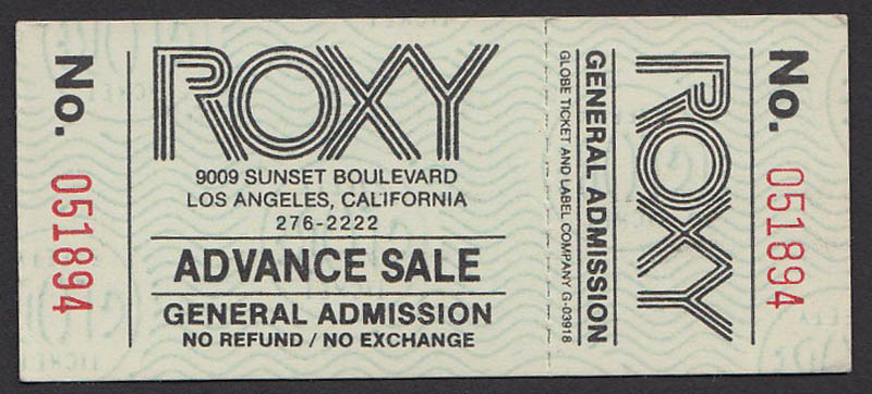 ROXY advance sale ticket
